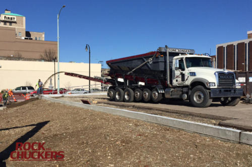 Slinging topsoil in Hamilton at the intersection of US 127 and Rt 129.